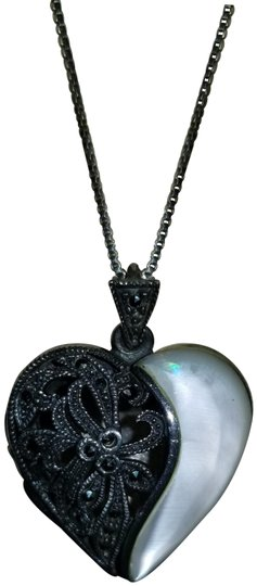 Preload https://img-static.tradesy.com/item/24830479/silver-and-black-vintage-art-deco-sterling-marcasite-mother-of-pearl-lockett-necklace-0-1-540-540.jpg