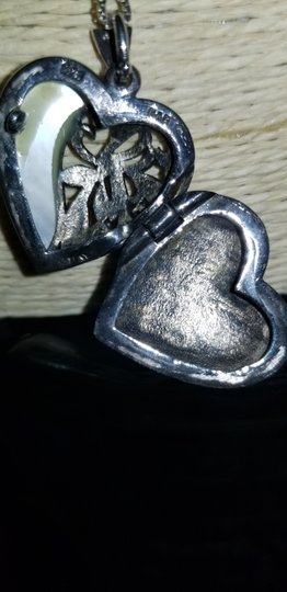 FAS ITALY Vintage Art Deco Sterling Silver, Marcasite & Mother of Pearl Lockett Image 3
