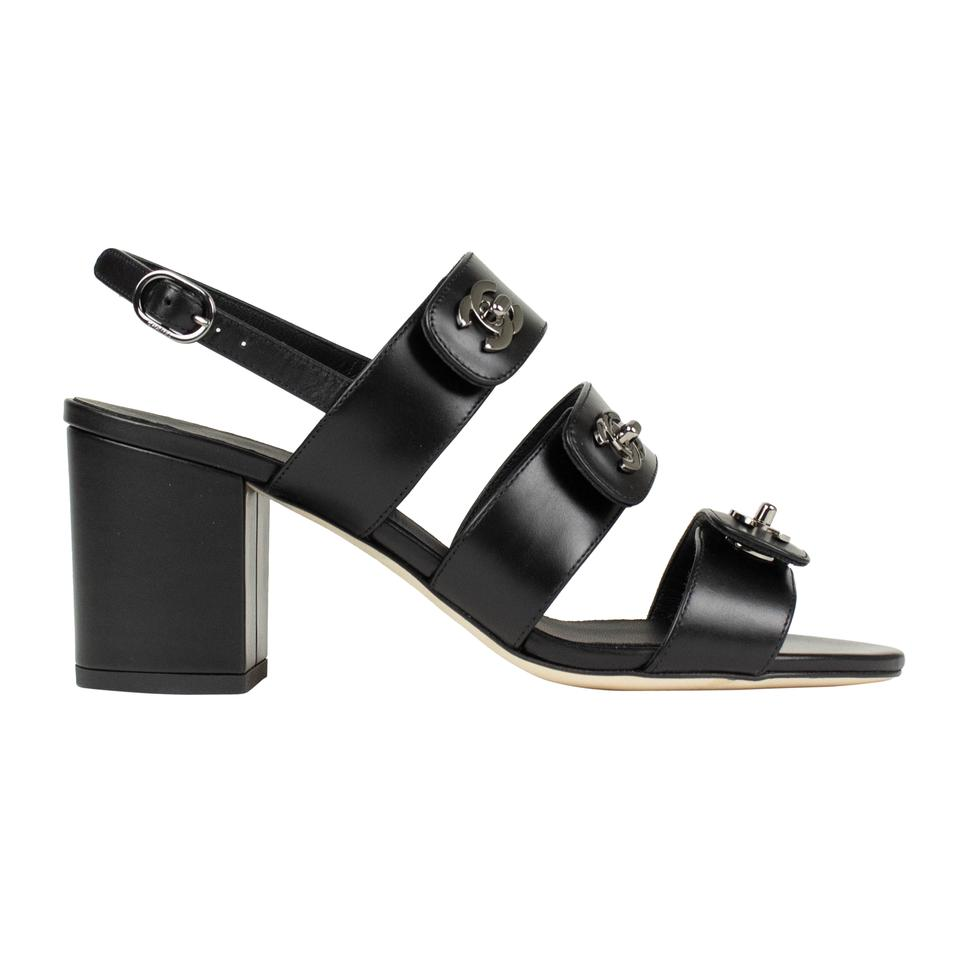 Chanel Black Leather Turnlock Slingback Sandals Size EU 36 (Approx ...