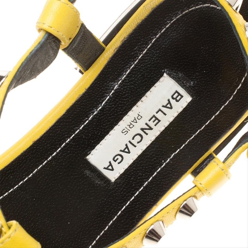 7fe43456739 Balenciaga Yellow Leather Arena Studded Sandals Size EU 38 (Approx ...