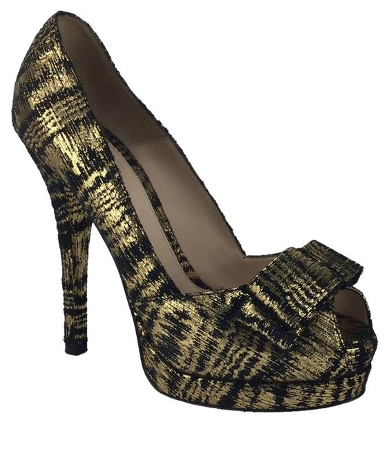 Fendi Black Open Toe Gold Platforms Size EU 39 (Approx. US 9) Regular (M, B) Fendi Black Open Toe Gold Platforms Size EU 39 (Approx. US 9) Regular (M, B) Image 1