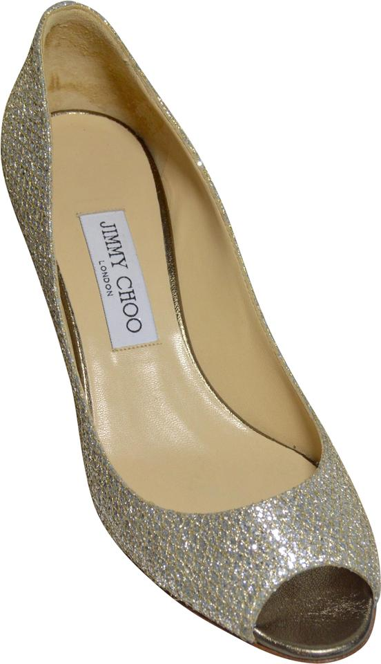 4e95d5ec04 Jimmy Choo Manolo Blahnik Isabel Peep-toe Glittering Fabric Leather Lower  Silver Pumps Image 0 ...