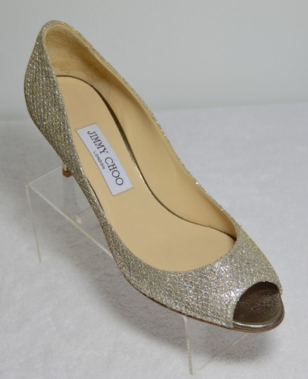 c8be824d19 Jimmy Choo Manolo Blahnik Isabel Peep-toe Glittering Fabric Leather Lower  Silver Pumps Image 2