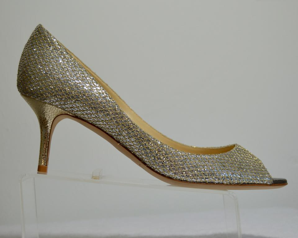 036cbfd037 Jimmy Choo Manolo Blahnik Isabel Peep-toe Glittering Fabric Leather Lower  Silver Pumps Image 10. 1234567891011