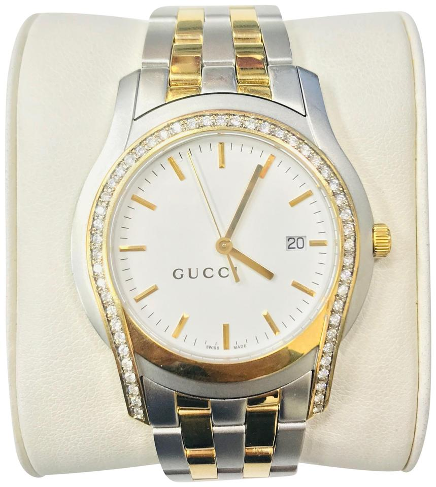 a2eb1aa226d Gucci 0.86ct Gucci 5500 XL Series White Dial Two Tone Dress Quartz Watch  Men Image ...