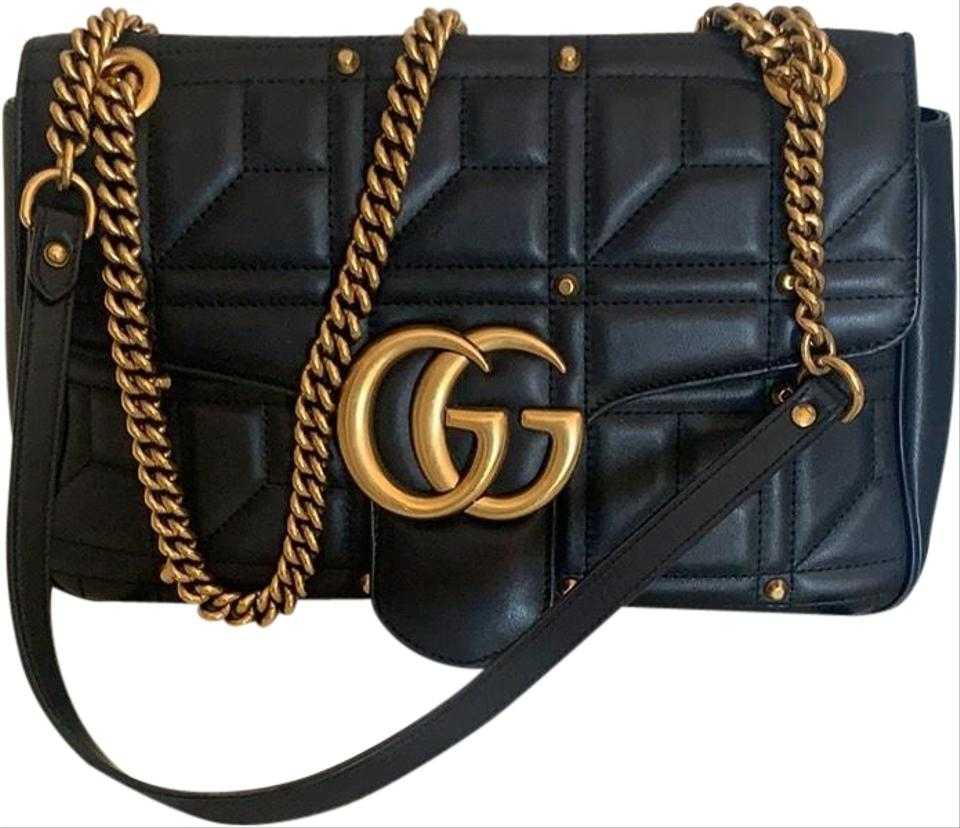 017ac61068b Gucci Marmont Gg Medium Black Matelassé Leather with Suede Like ...