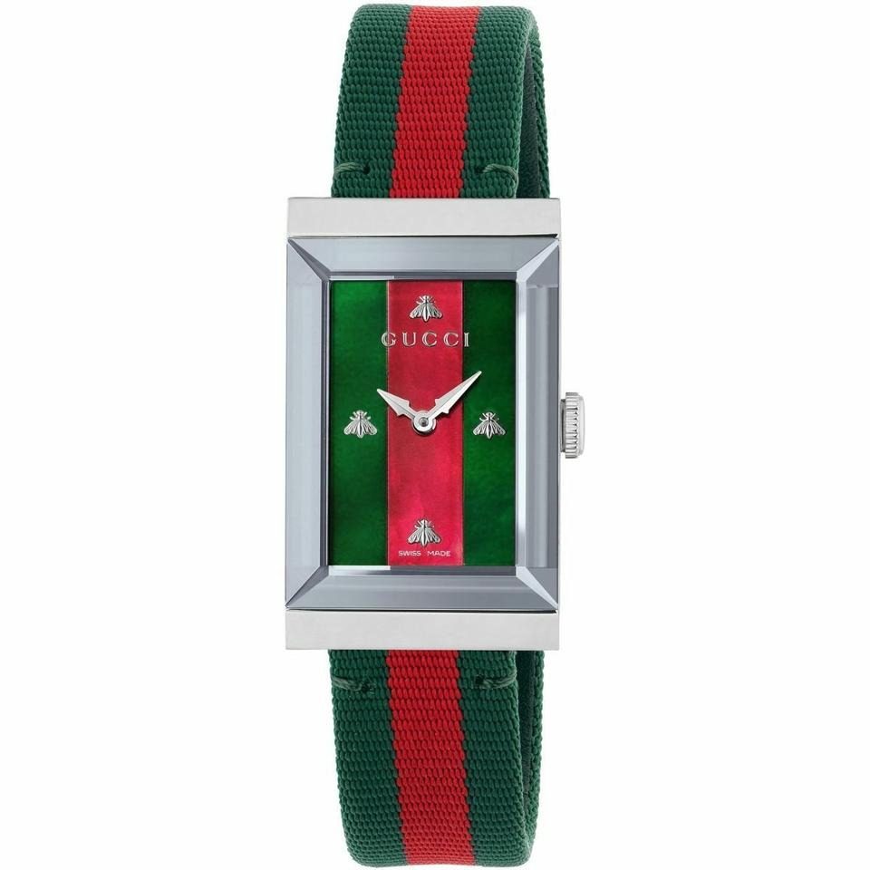 d571965927e Gucci Green-red Mother Of Pearl G-frame Stainless Steel Quartz ...