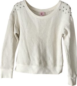 Dolled Up Crewneck Waffle Weave Banded Hand Wash Studs Sweater