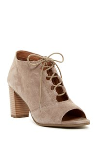 Susina Ankle Suede Lace-up Peep Toe Taupe Boots