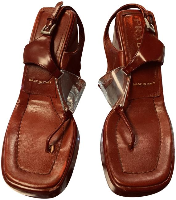 Item - Red Womens Open Toe T Strap Sandals Wedges Size US 8.5 Regular (M, B)