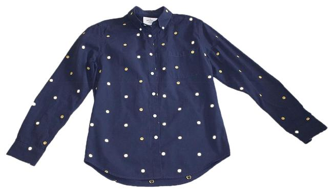 Preload https://img-static.tradesy.com/item/24831077/navy-blue-contente-smiley-shirt-button-down-top-size-8-m-0-1-650-650.jpg