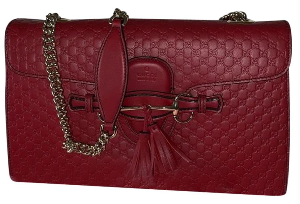 d4b1905dc4f9 Gucci Emily Guccissima Chain Red Leather Shoulder Bag - Tradesy