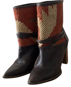 Anthropologie dark brown and multi Boots