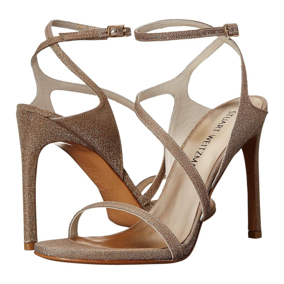 4ae0240e2bc Stuart Weitzman Gold Metallic Sultry Strappy Sandals Platforms Size ...