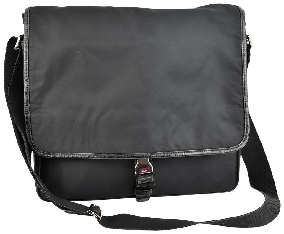 745c9c6c2a Prada Black Vela Nylon   Saffiano Leather Logo Shoulder (Nu)   Messenger Bag