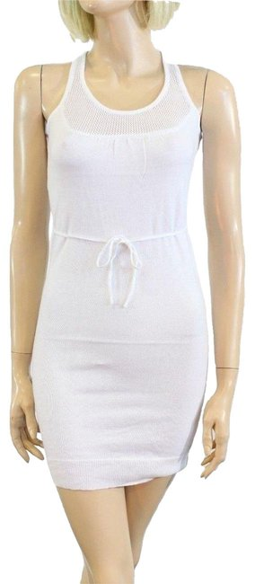 Tulle White Mesh Summer Short Casual Dress Size 12 (L) Tulle White Mesh Summer Short Casual Dress Size 12 (L) Image 1
