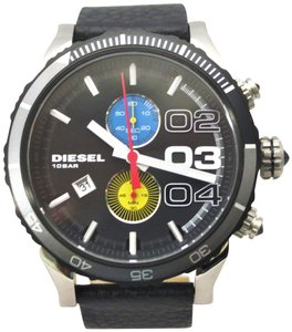 Diesel Diesel Men's Chronograph Double Down Black Leather Strap Watch DZ4331