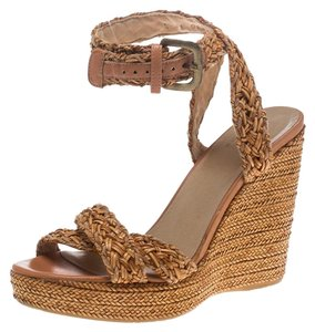 Stuart Weitzman Leather Braided Ankle Platform Beige Sandals