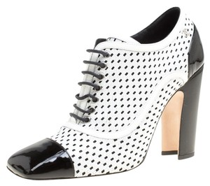 Chanel Monochrome Perforated Leather Lace Ankle White Boots