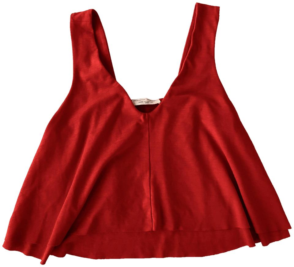 9c2d1af0a5953b Zara Red Cropped Going Out Tank Top Cami Size 8 (M) - Tradesy