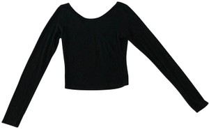 7283ecefdc3e4 Brandy Melville Scoop Neck Cropped Long Sleeve Ribbed T Shirt Black
