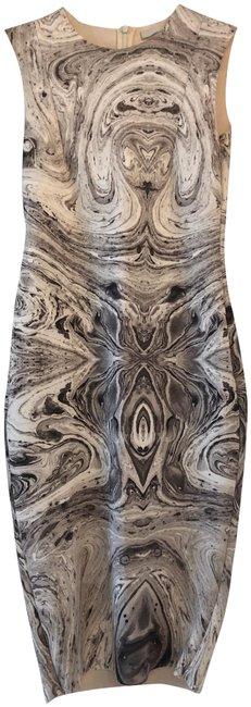 Item - Marble Grey & White Print Knee Length Fitted Mid-length Cocktail Dress Size 4 (S)