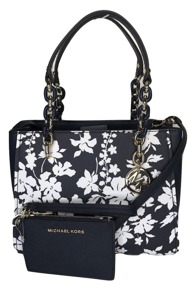 b64d8668a94a87 Michael Kors Purse Set Matching Set Gift Jet Set Item Satchel in Navy/White  Floral ...