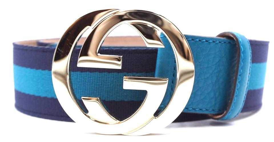 54c9653c86f Gucci  27387 Navy and Turquoise Stripe Canvas On Natural Leather Gg Logo  Gold Buckle Size 90 36 Belt