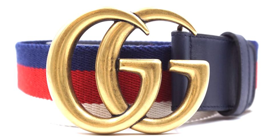 3a9b665147d Gucci RARE Marmont GG logo stripe gold buckle Belt size 70 28 Image 0 ...