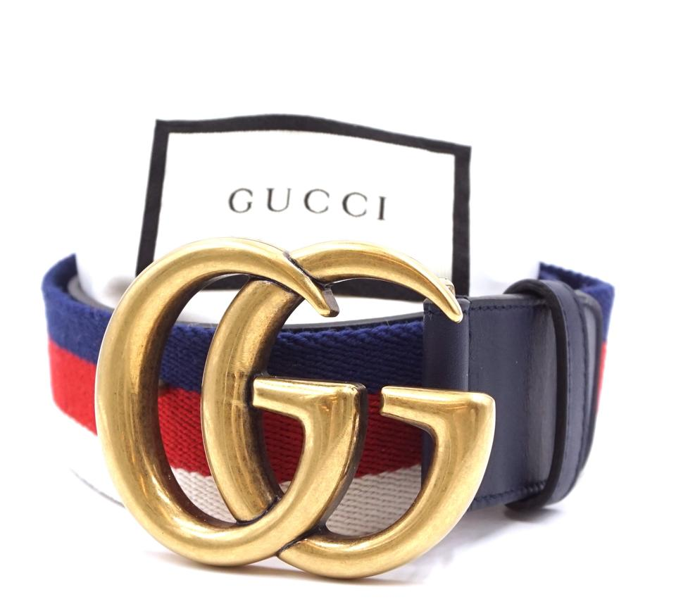 bdf775f17f6 Gucci  27389 Blue White Red Canvas and Navy Leather Marmont Rare Gg Logo  Stripe Gold Buckle Size 70 28 Belt - Tradesy