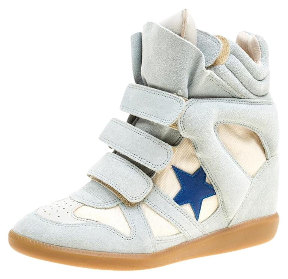 1b76795cf5a Isabel Marant Grey Grey Beige Suede and Canvas Bayley Star Wedge Sneakers  Flats. Size  EU 37 ...