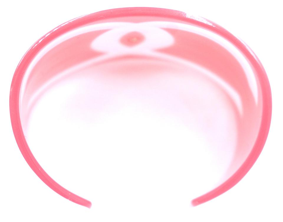 d89b75c2214 Chanel  27251 Baby Pink White Large Wide Cc Off Cuff Bangle Bracelet ...