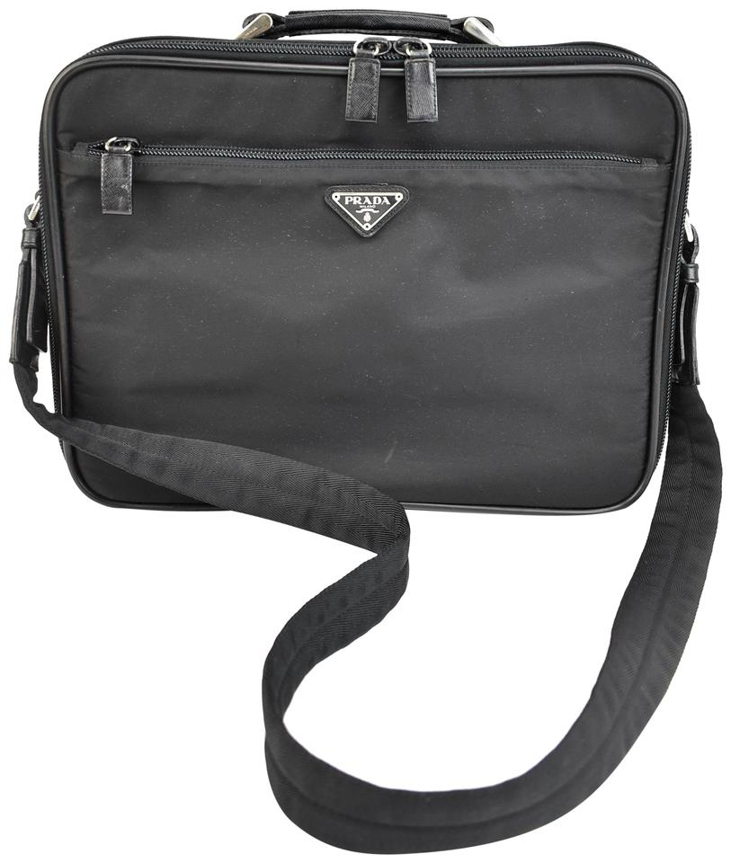 01e297367236 Prada Black Vela Nylon & Logo Executive Tote/Briefcase (Nt) Laptop ...