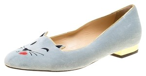 Charlotte Olympia Velvet Leather Grey Flats