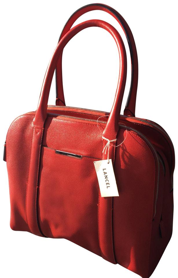 b6bfcb0f90 Lancel Bugatti Adjani Iconic Handbag Red Calfskin Leather Tote - Tradesy