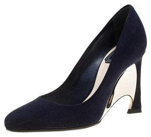 Dior Suede Wedge Leather Navy Blue Pumps