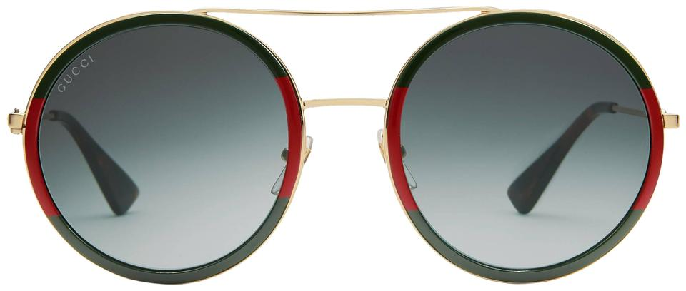 10d7d12faf3 Gucci Red Green New Gg0061s 0061s Oversized Round Double Bridge Sunglasses