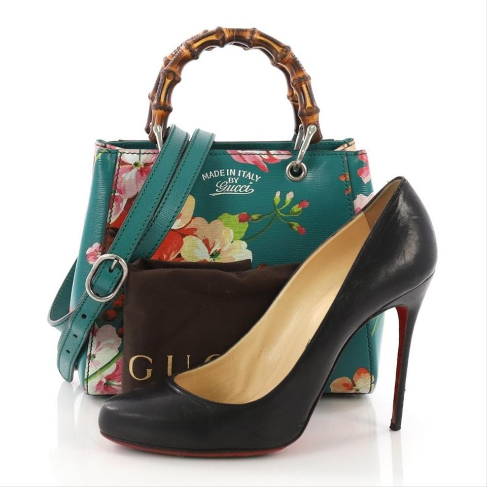 bec333c56365 Gucci Bamboo Shopper Blooms Print Mini Teal Leather Tote - Tradesy