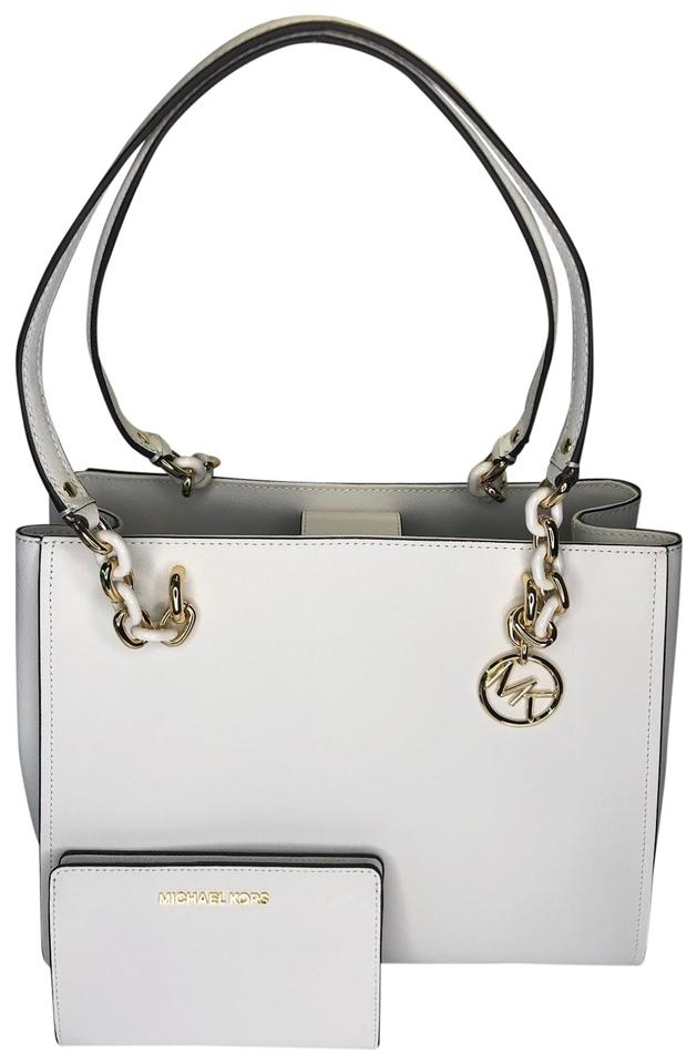 f8ab6d0c6c01 Michael Kors Sofia Large Tote Bundled with Wallet Optic White Leather  Satchel