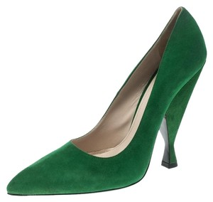 Prada Suede Pointed Toe Green Pumps