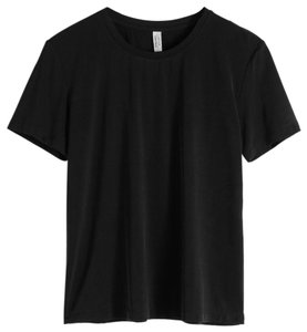 & Other Stories Cupro Silky Loose Comfy T Shirt Black