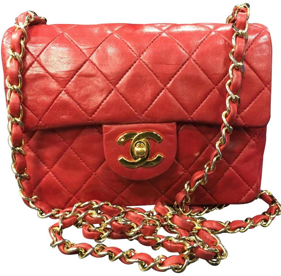 e87b95b6a25e Chanel Classic Flap Vintage Mini Red Lambskin Leather Cross Body Bag ...