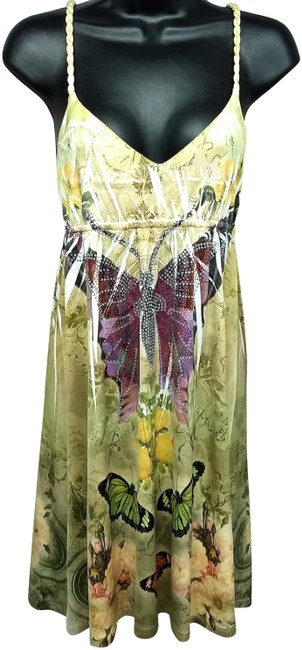 Item - Yellow Printed Knotted Spaghetti Strap Jeweled Empire Short Casual Dress Size 6 (S)