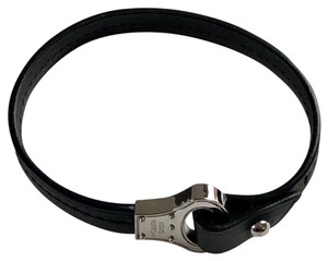 Louis Vuitton Louis Vuitton Black Leather Bracelet with Silver Hardware & Box etc.