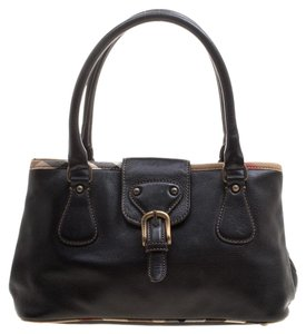 Burberry Leather Satin Tote in Black