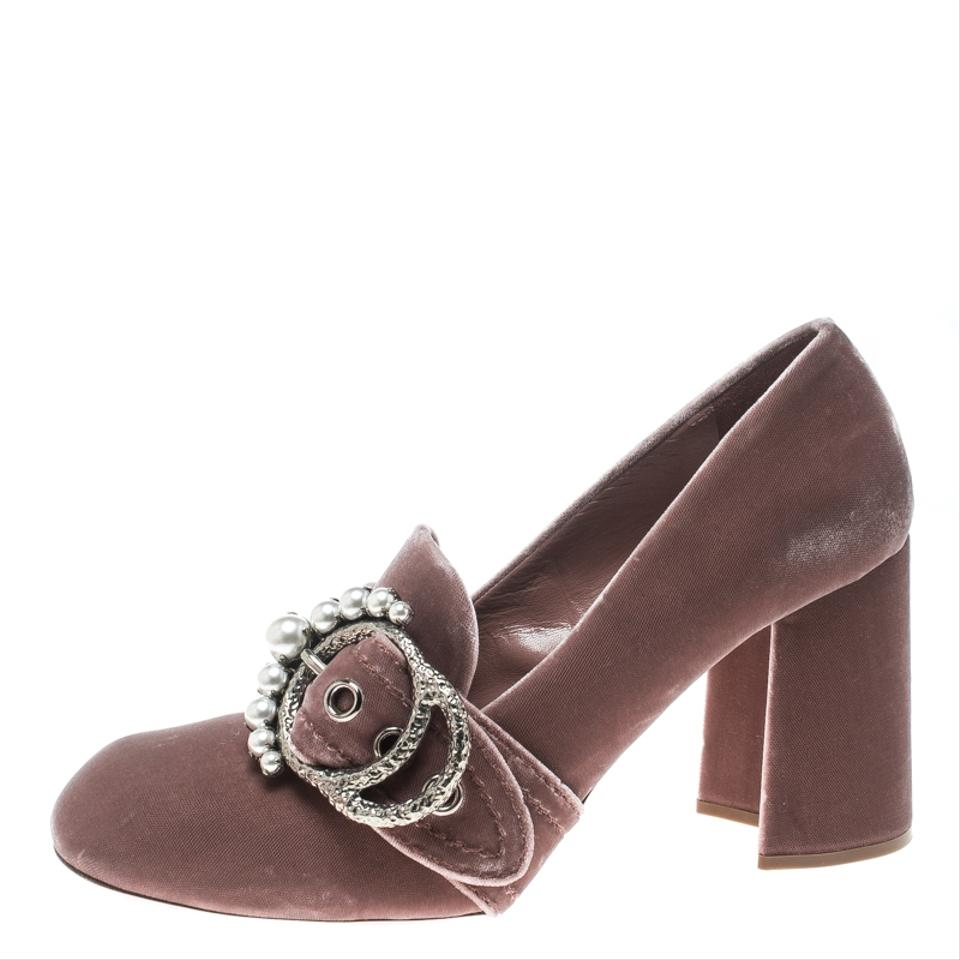 380a8012d Miu Miu Pink Velvet Pearl Embellished Buckle Block Heel Loafer Pumps ...