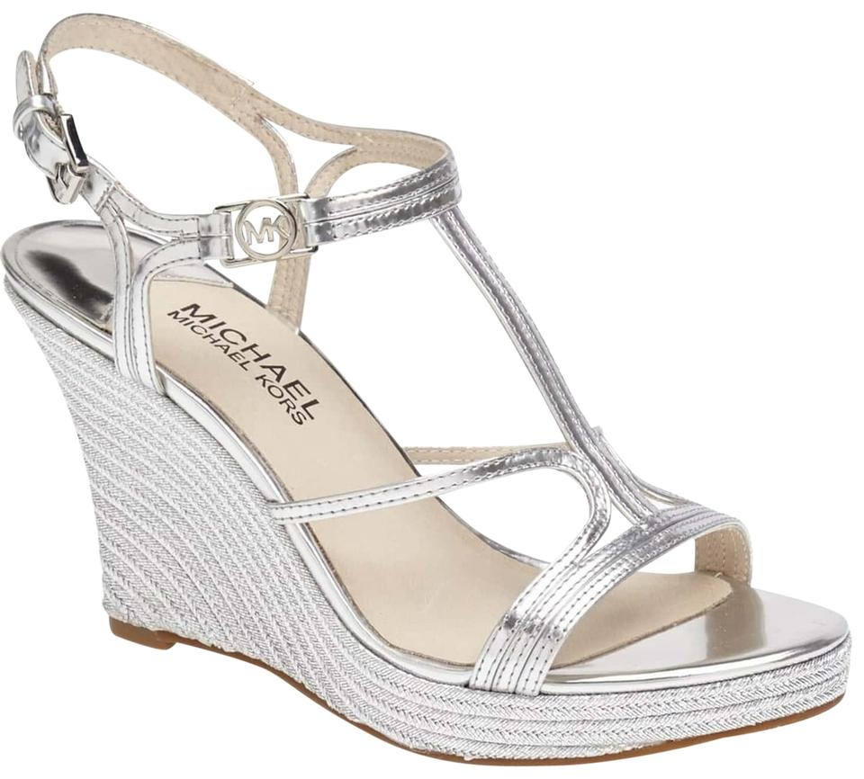 4bbb3353670 MICHAEL Michael Kors Silver Cicely Metallic Leather Wedge Sandals ...