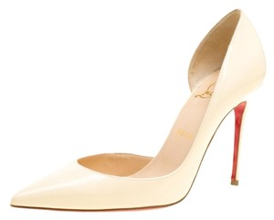 Christian Louboutin Patent Leather Pointed Toe Cream Pumps