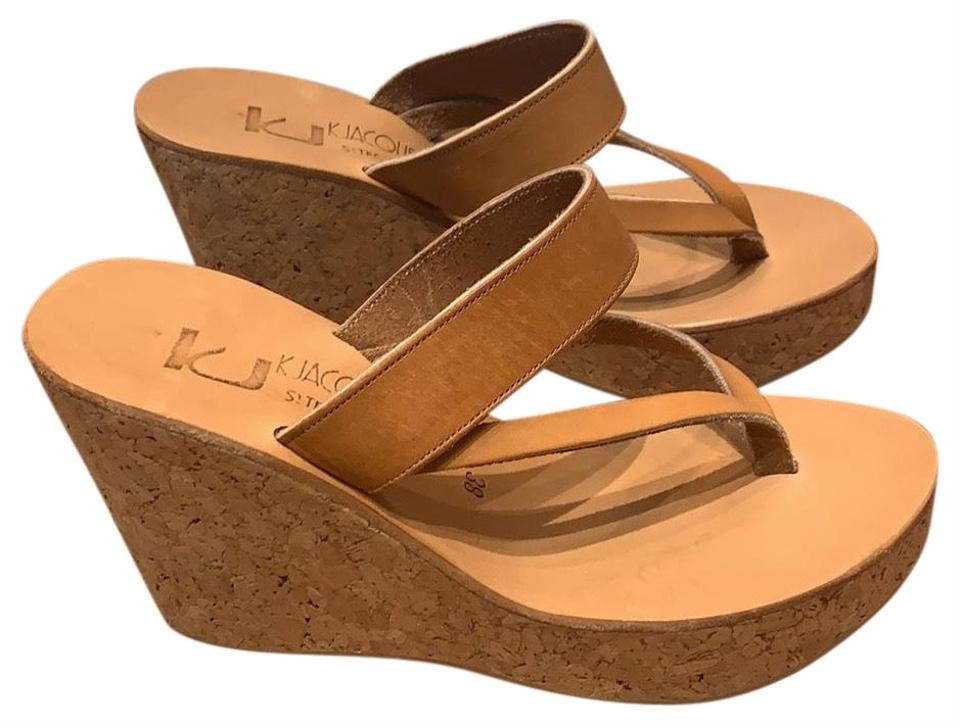 36ad1c8922bfb K. Jacques Nude Diorite Cork Thong Wedges Size EU 38 (Approx. US 8 ...