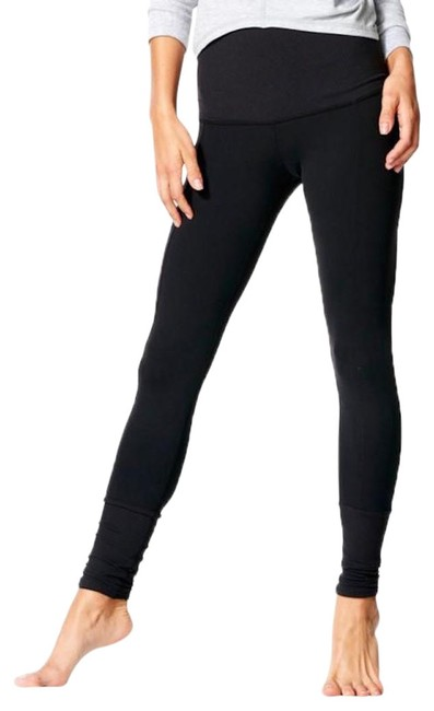 Item - Black Yama Ribbed Highwaisted Tights Activewear Bottoms Size 4 (S, 27)